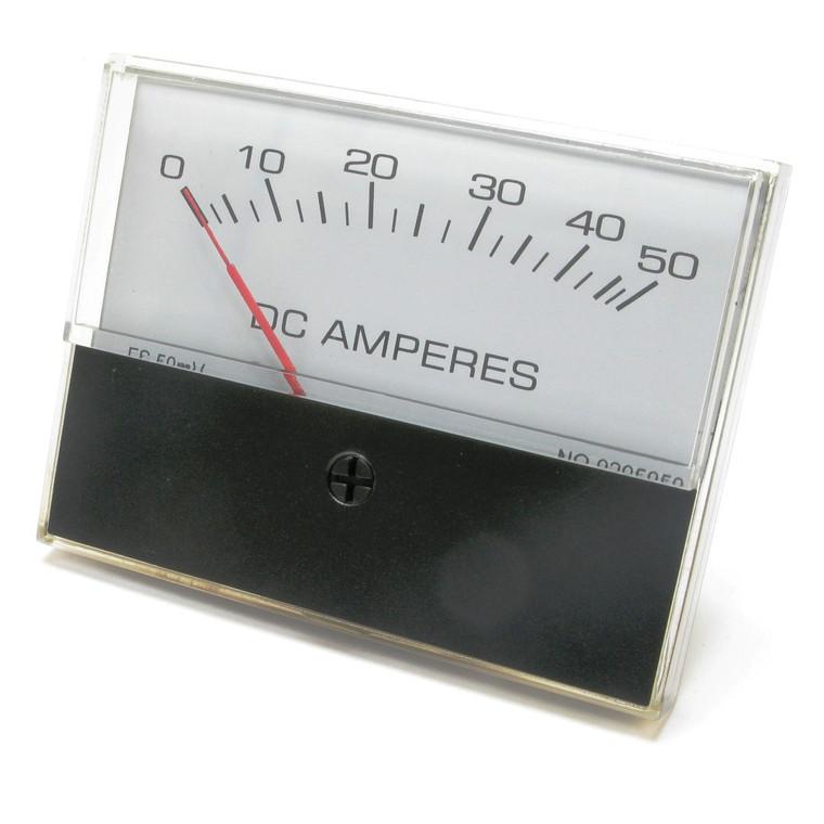 0 - 50 Amp DC Analog Panel Meter, 3 Inch