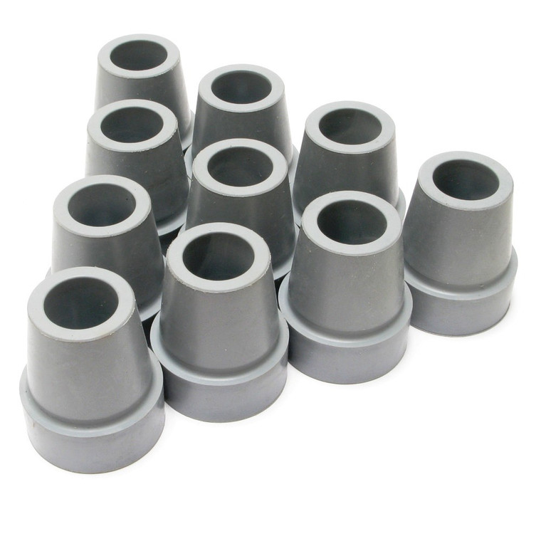 Replacement Rubber Cane Tips, Grey, 3/4 Inch, 10 Piece