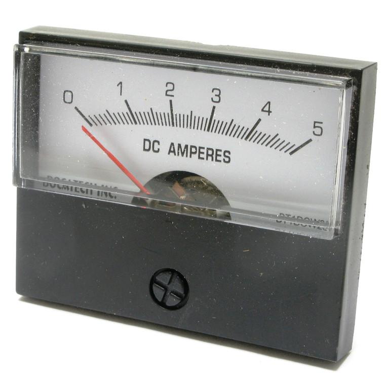 0 - 5 Amp DC Analog Panel Meter, 2 Inch Meter