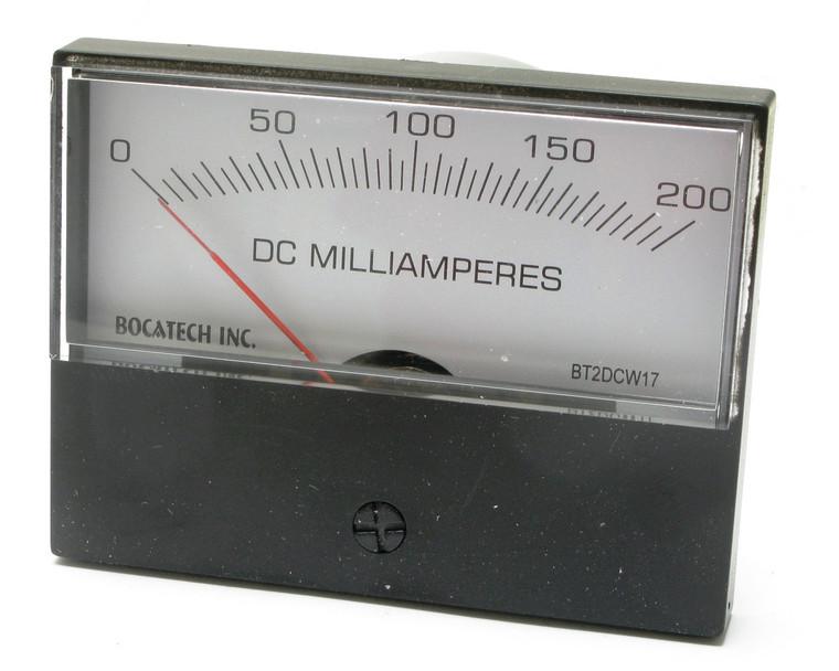 0 - 200 Milliampers DC, Analog Panel Meter, 3 Inch