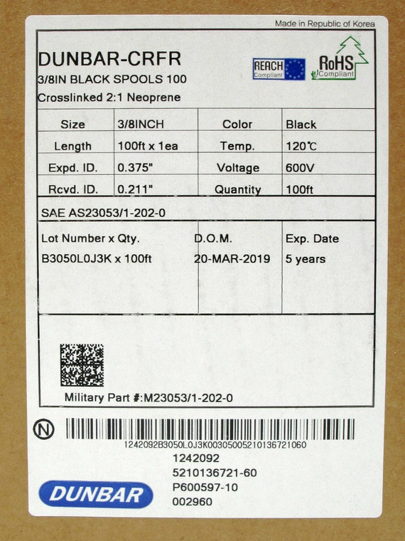 3/8 Inch Heat Shrink, 2:1 Shrink Ratio, Black 100 Foot, Dunbar M23053/1-202-0
