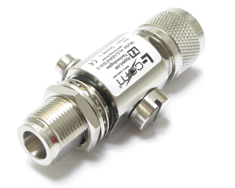 Lightning Surge Protector, Coaxial, 50 ohm, Bulkhead, L-com AL6-NMNFBW-9