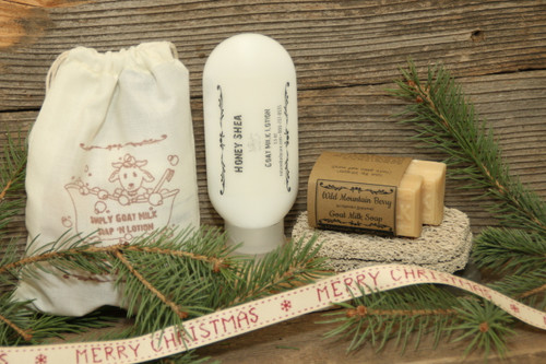 Sample gift set choices plus a handcrafted washcloth.