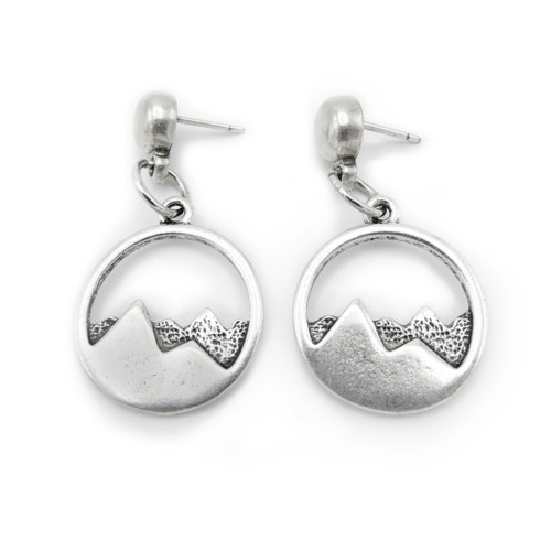 LILO Collections Mountain Cutout Disc Earrings in silver tone