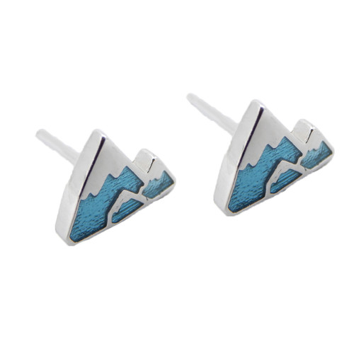 LILO Collections 3 Peak Blue Mountain Stud earrings, sterling silver with blue inlays