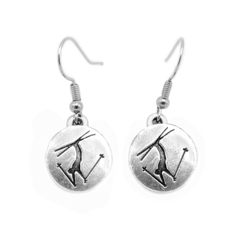 Silver earrings with an embossed freestyle skier