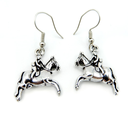 LILO Collections silver earrings featuring a horse and half seat rider