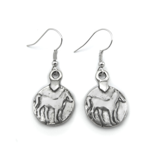 LILO Collections Horse coin earrings, front