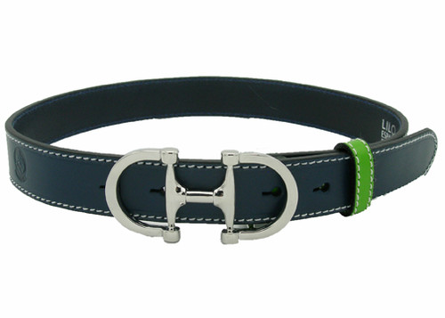 "LILO Collections Bilbao 1.25"" buckle in silver on classic pine strap with lime accent"