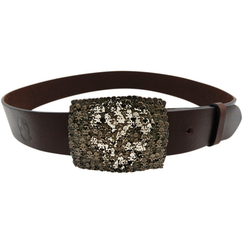 LILO Collections Skulls buckle on Vintage brown strap with matching accent