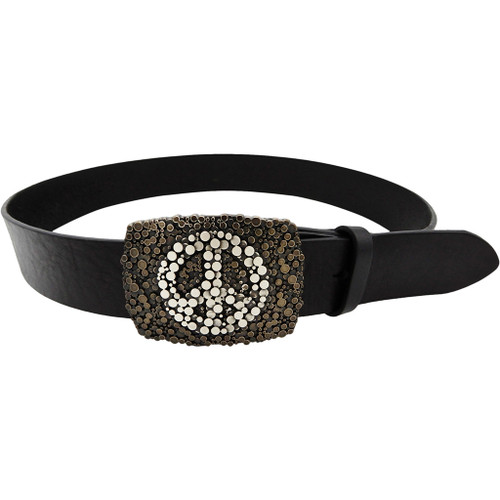 LILO Collections Paz belt buckle in vintage silver on a vintage black strap with matching accent
