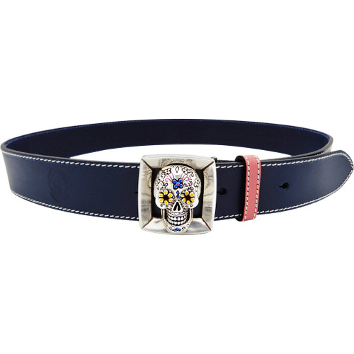 LILO Collections Cala belt buckle on a Classic Navy strap with pink accent