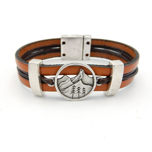 LILO Collections 3 Pine Leather bracelet shown in Natural/Brown