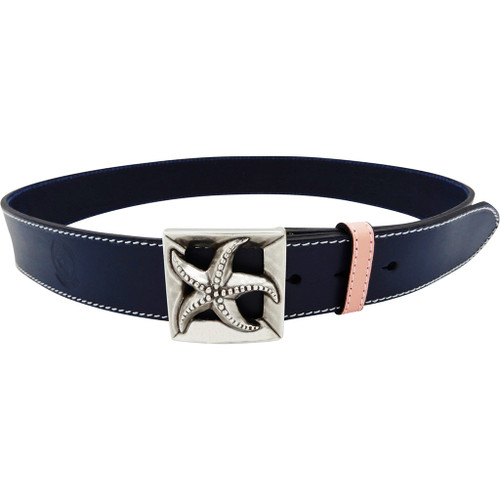 LILO Collections Estrella buckle on a Classic Navy strap with Pink accent