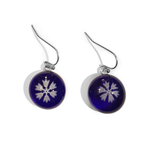 LILO Collections Glass Snowflake earrings shown in Navy