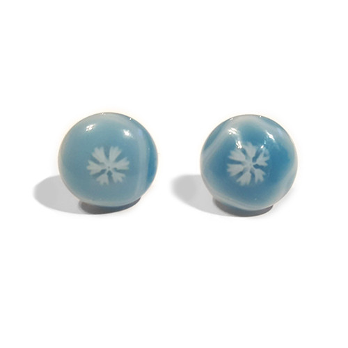 LILO Collections Glass Snowflake Studs in Sky Blue