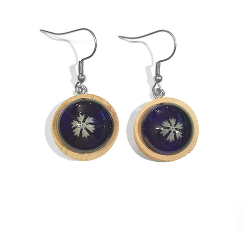 LILO Collections Glass Snowflake Wood Earrings shown in Black