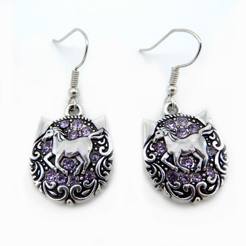 LILO Collections Twinkle Horse Earrings in Lavender