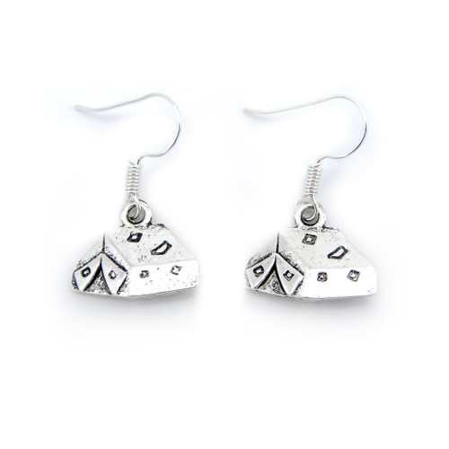 LILO Collections Camp Tent Earrings, featuring a detailed tent-shaped charm