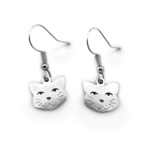 LILO Collections Smiling Cat Earrings, with a friendly cat charm