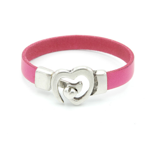 LILO Collections Heart Buckle Bracelet in Pink