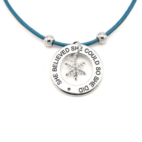 LILO Collections She Believed She Could Snowflake Skinny necklace on a Blue leather cord