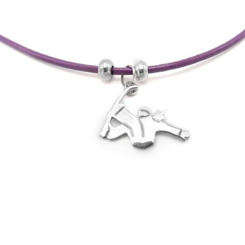 LILO Collections Snowboarder Silhouette Skinny Necklace on purple leather cord
