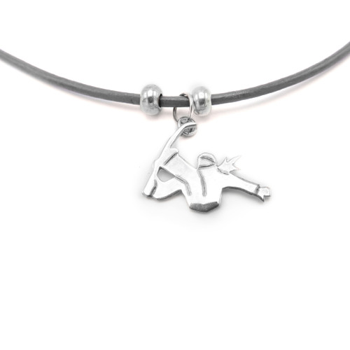LILO Collections Snowboarder Silhouette Skinny Necklace on black leather cord