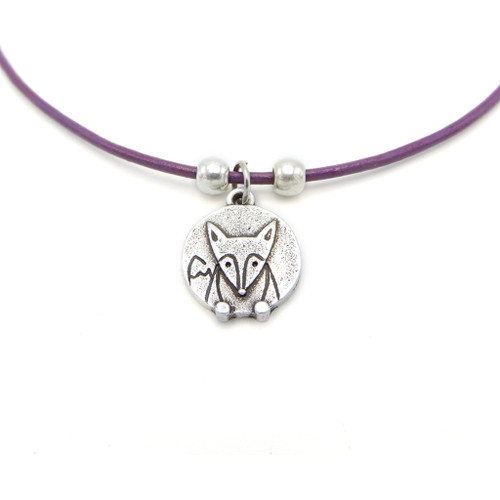 LILO Collections Fox Disc Skinny Necklace on a purple leather cord