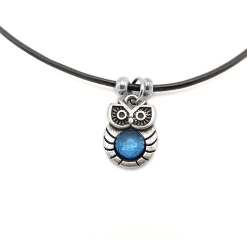 LILO Collections Hootie Owl Skinny Necklace on black leather cord with blue accent stone
