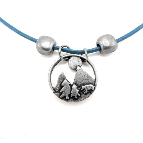 LILO Collections Moonlight Bear Skinny Necklace on Blue leather cord