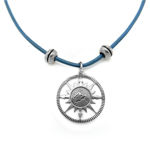 LILO Collections Mountain Compass Skinny Necklace on Blue leather cord