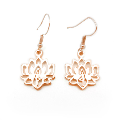 LILO Collections Lotus Pose Earrings in Rose Gold Finish