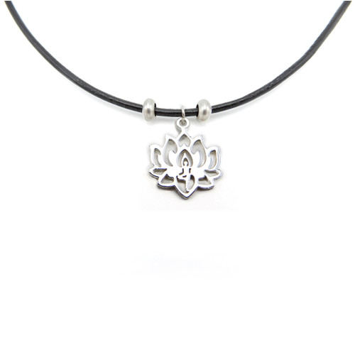 LILO Collections Lotus Pose Skinny Necklace, pictured with silver finish on black cord
