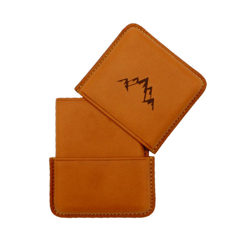 Leather active wallet with mountain logo natural