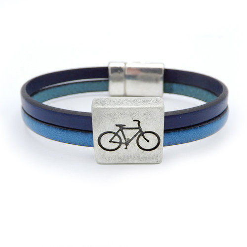LILO Collections Cuadro Bracelet with Navy/Jean leather