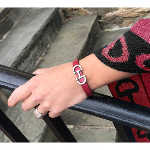 LILO Collections Bilbao Bracelet in Wine shown with our Cusco Shawl