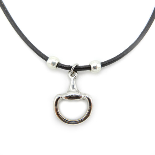 LILO Collections Half Bit Skinny Necklace, pictured on black cord