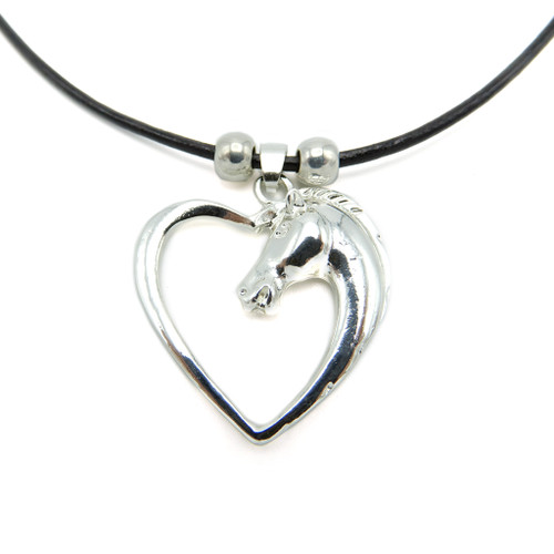 LILO Collections Horse Love Skinny necklace pictured on black cord