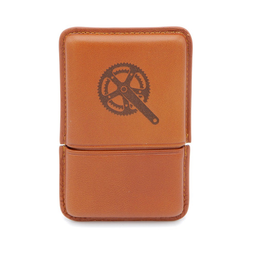 LILO Active Leather Wallet with embossed bike crank design, in Natural