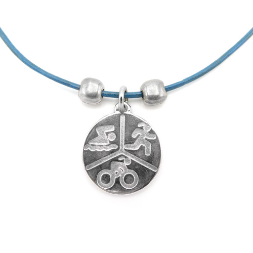 LILO Collections TRI Disc Large Skinny Necklace on Blue cord