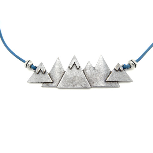 LILO Collections 6 Peaks Skinny Necklace one Blue cord