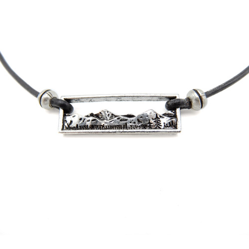LILO Collections Mountain Bar Skinny leather necklace, on black cord
