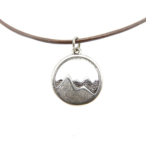 LILO Collections Mountain Cutout Skinny leather necklace on brown cord