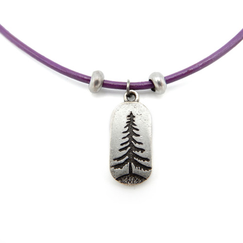 LILO Collections Pine Oblong Skinny leather necklace on purple cord