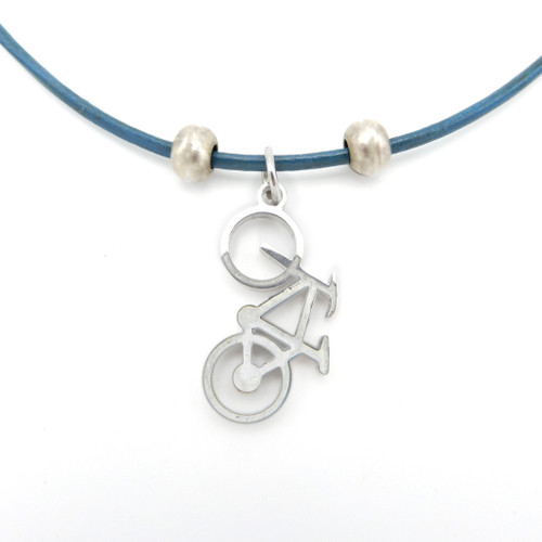 LILO Collections Bike Up Skinny leather necklace on blue cord