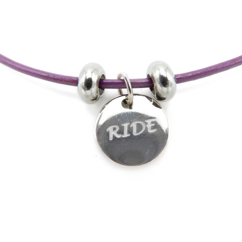 LILO Collections Ride Skinny leather necklace on purple necklace