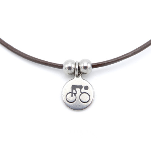 LILO Collections Cyclist Skinny leather necklace