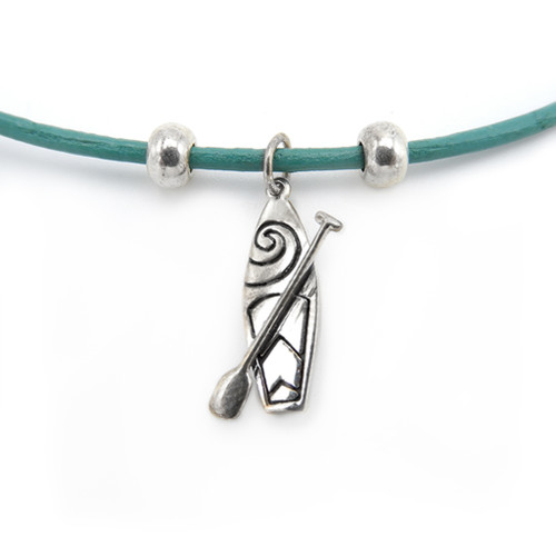 LILO Collections S.U.P. Skinny necklace, pictured on Teal leather cord