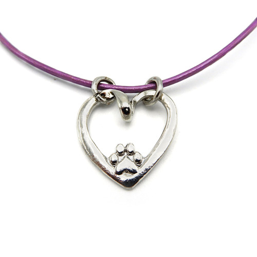 LILO Collections Paw in Heart Skinny Necklace pictured on purple leather cord